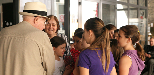 Branko Lustig with pupils after the education in Zagreb in 2011