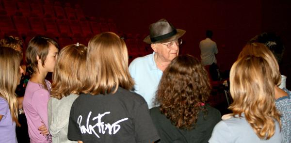 Branko Lustig talking to the pupils in Osijek in 2011